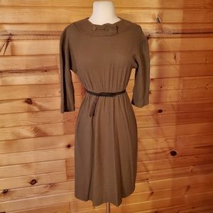 1950s Illegible tag Brown, Poly/Cotton Wiggle Dres